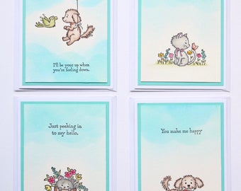Furry Friends Watercolor Set of Blank Cards w/ Envelopes (4)