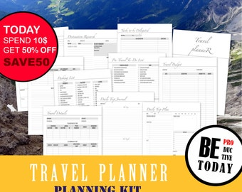Travel Planner Bundle Printable, Vacation Planner, Packing List, A4, A5, Letter, Travel Checklist, Itinerary, Trip Journal, Travel Budget A5