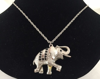 Estate Silver Tone Elephant Pendant and Silver Chain Necklace