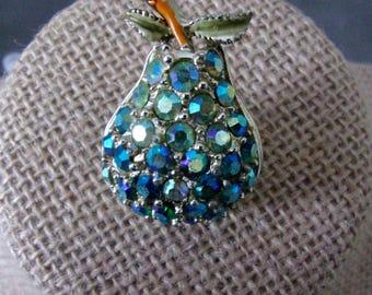 Blue Aurora Borealis Pear Brooch