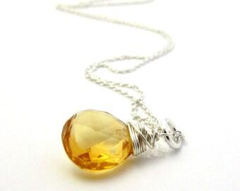 November birthstone necklace, silver citrine pendant, yellow citrine necklace, large citrine jewelry, citrine birthstone gemstone necklace