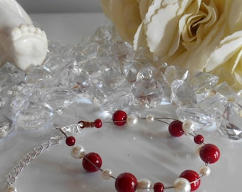 Twisted wedding bracelet Burgundy and ivory pearls