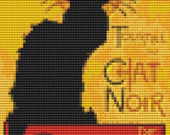 Cat Cross Stitch Chart, Chat Noir MINI Cross Stitch Pattern PDF, Cat Cross Stitch, Art Cross Stitch, Embroidery Chart