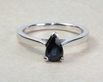 Natural Pear Drop cut Blue Sapphire Solitaire Ring. Engagement, Promise,Anniversary,Dress Ring. Ideal 16th,18th,21st. September Birthstone