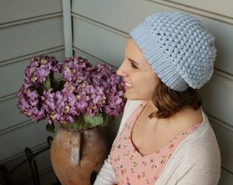 Slouchy Puff Stitch Crochet Beanie hat pdf instant digital download