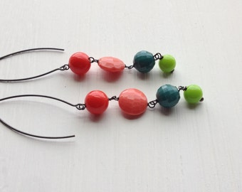 constant gardener earrings - vintage lucite and sterling