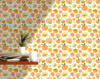 Charmant Orange Wallpaper Fresh Watercolor Wall Paper Self Adhesive Removable Wall  Mural For Kitchen, Fruit Wallpaper Floral Wallpaper CC075