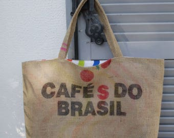 Tote or beach bag made of burlap bag the Brazil coffee - reversible cotton voile