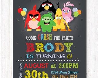 Angry Birds Invitation, Angry Birds Birthday, Angry Birds Party, Angry Birds invite, chalkboard, printable