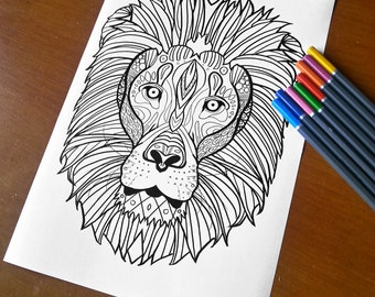Adult Zentangle Coloring Sheet Lion