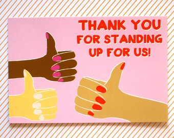 Thanks for Standing Up for Us Protest Postcard || 30% proceeds go to ACLU || equality, womens march, activism, feminist, ides of trump