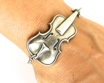 Steampunk Cello Bracelet Sterling Silver Ox Finish
