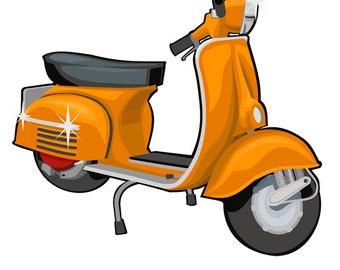 scooter clip art, vespa art, vintage vespa illustration, royalty free clip art, INSTANT DOWNLOAD