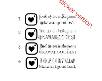 Social media stickers - Custom FIND US or FiND ME stickers with heart camera - small business, etsy shop