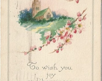 Country Church in Springtime Scene with Branch of Pink Apple Blossoms EASTER Greeting Vintage Postcard