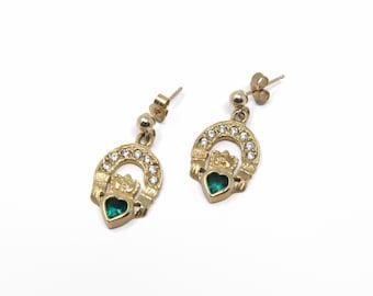 Vintage 9K Gold Emerald Claddagh Dangle Post Earrings