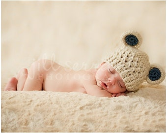 Crochet Baby Hat, Baby Boy Crochet Hat, Crochet Baby Beanie Hat with Ears-Oatmeal and Country Blue-0-3 Months-MADE TO ORDER