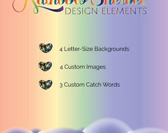 Rainbow Sherbet - Colorful Rainbow Design Elements & Catchwords