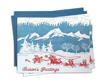 Letterpress Christmas Card, Box Set, Santa Sleigh Holiday Cards, Retro 60s Mid Century Vintage, Mountains Snow, Colorado Utah Wyoming, HOS05