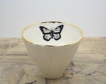 White & Gold Monarch Butterfly Porcelain 5oz. Small Tea Cup, Tea Bowl, Saki Cup