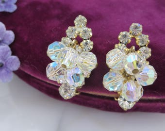 Juliana Jewelry Rhinestone Earrings - Clear and AB Crystal Beads Clips Costume Jewelry, D&E Delizza and Elster Vintage Earrings for Women