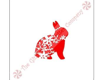 Floral Bunny Cookie Stencil