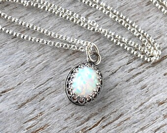 Opal Necklace, Sterling Silver Opal Birthstone Necklace, October Birthstone Necklace, Opal Gemstone