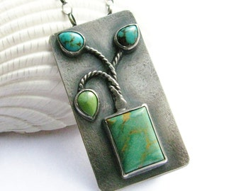 Turquoise Necklace, Argentium Sterling Silver Necklace, Ikebana Inspired Metalsmith Jewelry, Art Jewelry OOAK Jewelry One Of A Kind Necklace