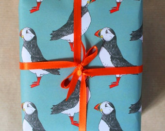 Puffin Gift Wrap - wedding wrapping paper - puffin wrapping paper - birthday wrapping paper - iceland- wrap for men - gift wrap - decoupage