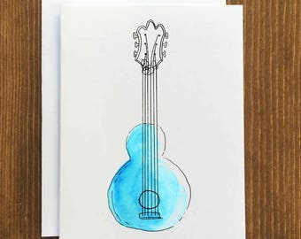 Watercolor Guitar Card