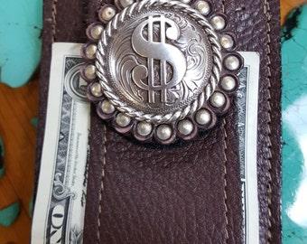 Dollar Sign Concho front Pocket Wallet
