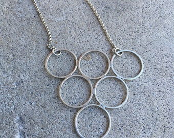 Sterling Silver Circles - Geometric Jewelry - Modern - Simple - Minimalist - Brushed Finish - Triangle