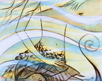 Mermaid-Manta Ray, sea life, beach, Art Print, Ready to Hang, Canvas, 10x20