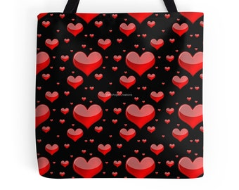Red Hearts Tote Bag, White & Black Backgrounds Available