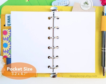 BLANK pocket size refills - Unlined planner pages - Premium paper planner refill - Plain white paper planner inserts - 25 sheets