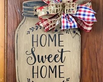 Mason jar sign, home sweet home sign, front door decor, front door welcome, summer decor