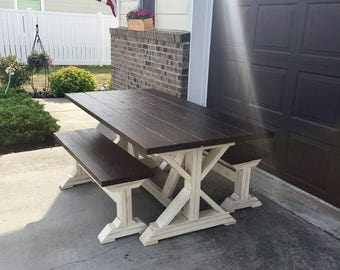 6ft Farmtable with two benches - Local pick up