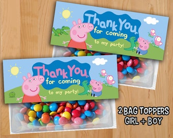 Peppa Pig Favor Bag Toppers - INSTANT DOWNLOAD - Peppa Pig Treat Bag Topper - Peppa Pig Party Invite Printable - Peppa Pig Birthday