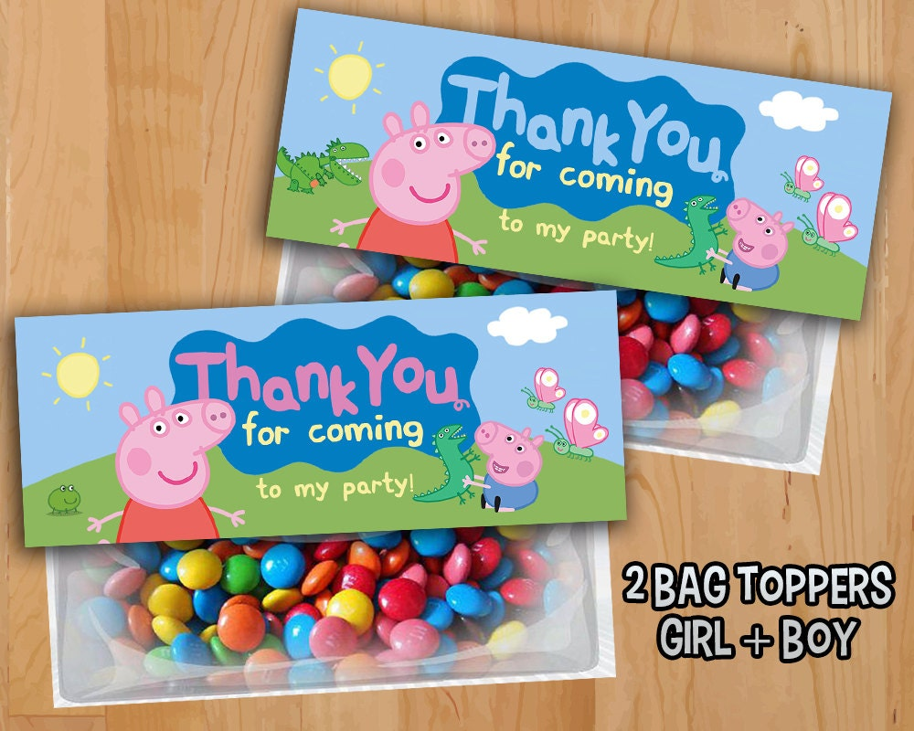 Peppa Pig Favor Bag Toppers INSTANT DOWNLOAD Peppa Pig