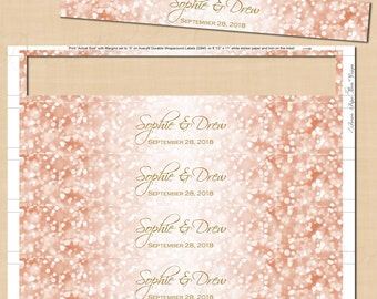 Rose Gold Sparkles Water Bottle Labels (9.75x1.25): Text-Editable in Word, Printable on Avery® 22845, 22929, Instant Download