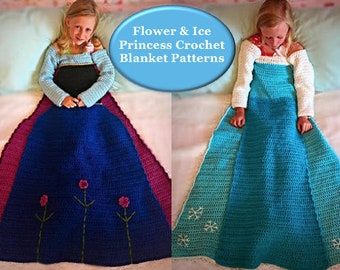 Flower and Ice Crochet Princess Dress Blanket PATTERNS