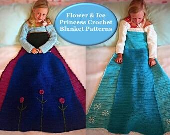 Flower and Ice Crochet Princess Dress Blanket PATTERNS