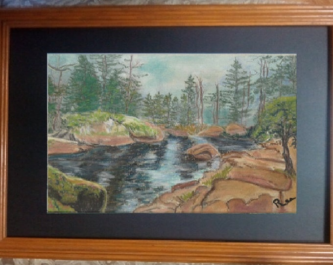 "8x10 Original Signed Pastel Painting, Landscape Artwork, ""Rocky Terrain in California"""