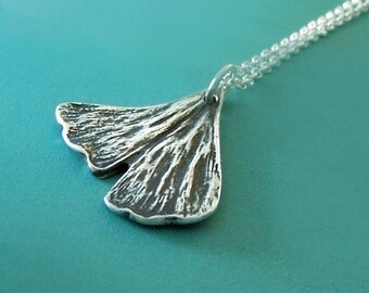 Ginkgo Leaf Necklace in Sterling Silver Small Ginkgo Leaf Free Shipping, Gardening Gift