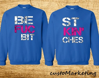 Best Friends Couple Crewneck Sweatshirt BFB Crewneck BLUE Best Fucking Bitches Sweatshirt Couple Friends Crew-neck BFF Sweater Best Couple