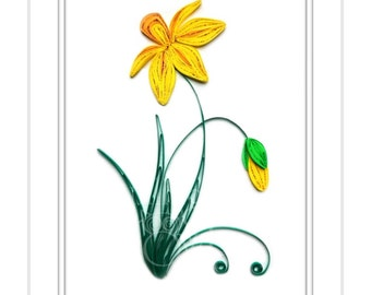 Daffodil - Original Paper Quilling- Quilled Paper Art - Quilled Wall Art - Flower Wall Art- Mother's Day Gift - 1st Wedding Anniversary