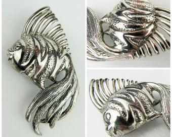 """Vintage Sterling Silver Fish Brooch Pin~Large Retro Tropical Fish Pin~Estate Jewelry~2 1/2"""" Sterling Silver Brooch"""