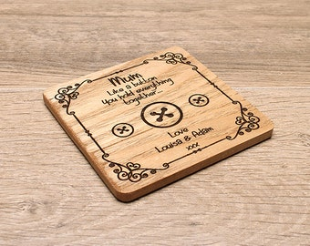 Personalised Laser Engraved Wooden Coaster, 'Mum, like a button' design