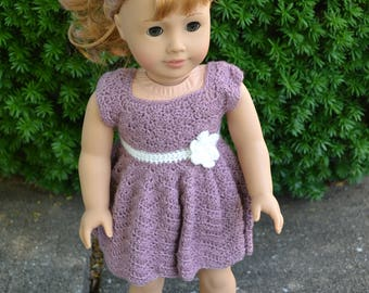18 inch Doll Clothes, Sunrise Sunday Dress, Dusty Rose Cream, crochet dress, MADE TO ORDER, fits American Girl Doll