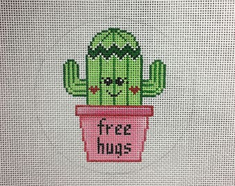 Hand Painted Free Hugs Cactus Valentines Canvas by MyPinkSugarLife